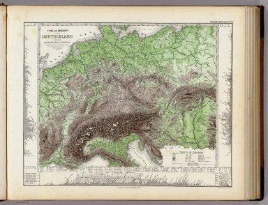 Fluss Und Bergkarte Von Deutschland Und Den Anliegenden Landern.