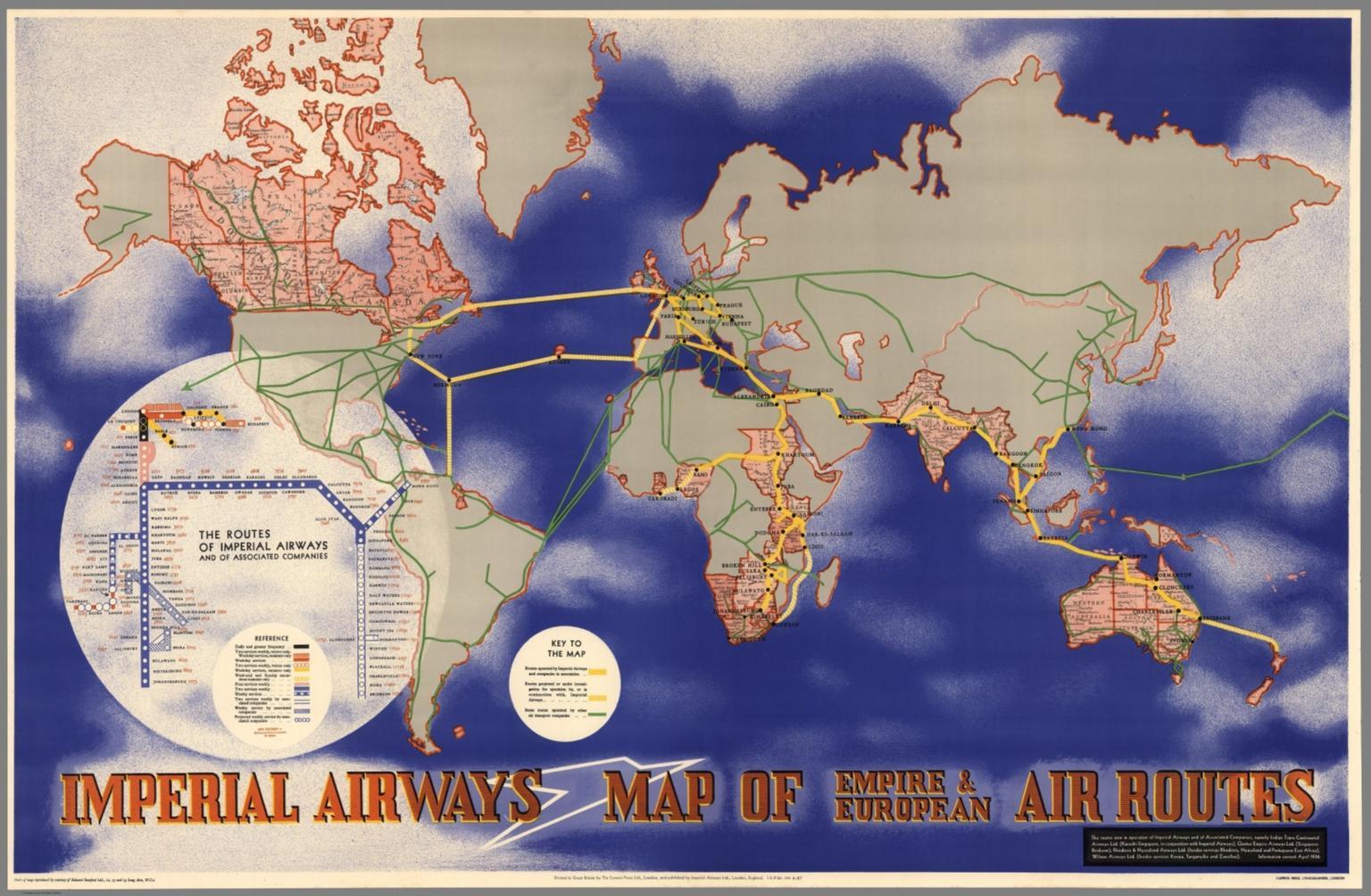 Imperial Airways Map of Empire & European Air Routes.