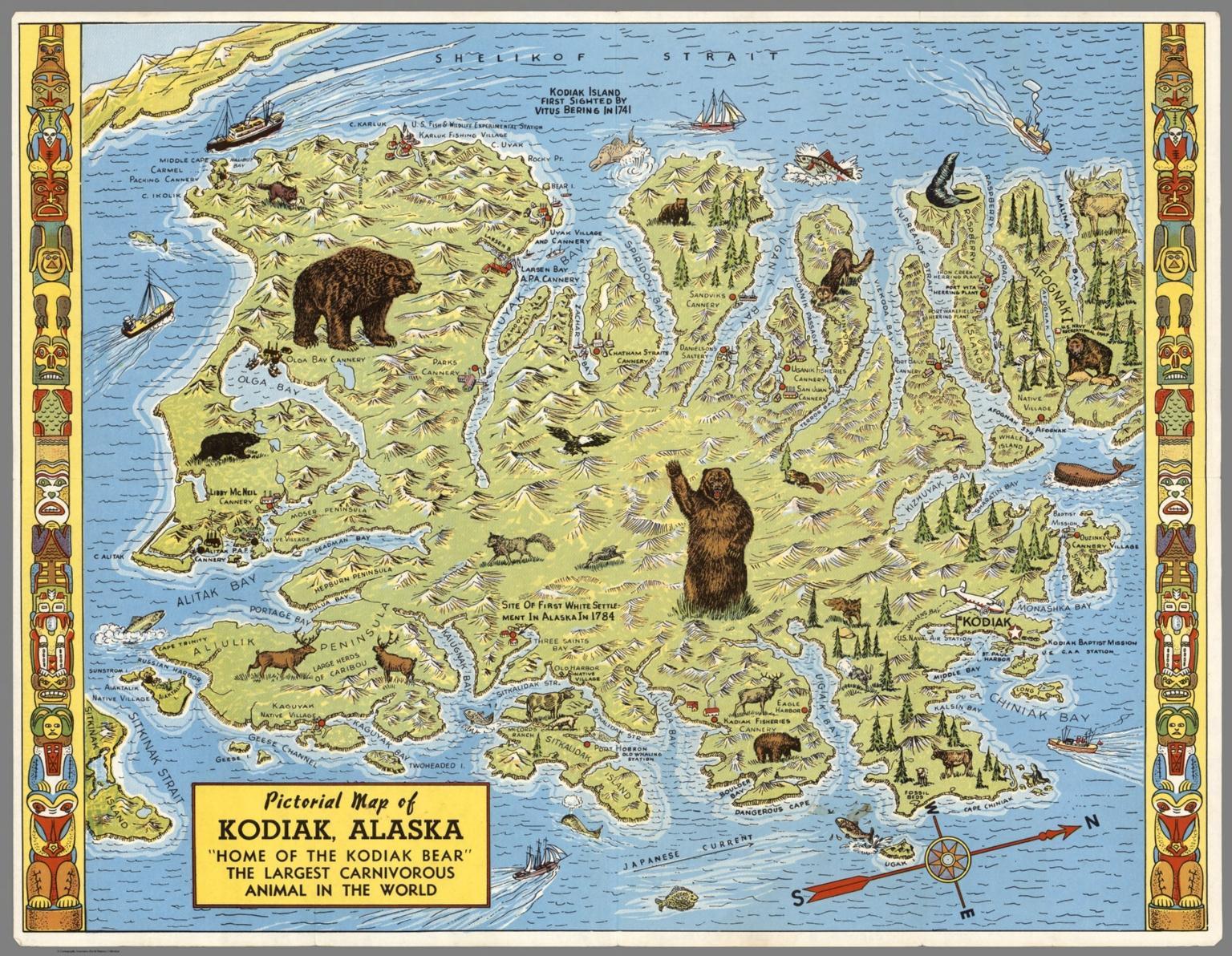 "Pictorial Map of Kodiak, Alaska. ""Home of the Kodiak Bear"", The Largest Carnivorous Animal in the World."